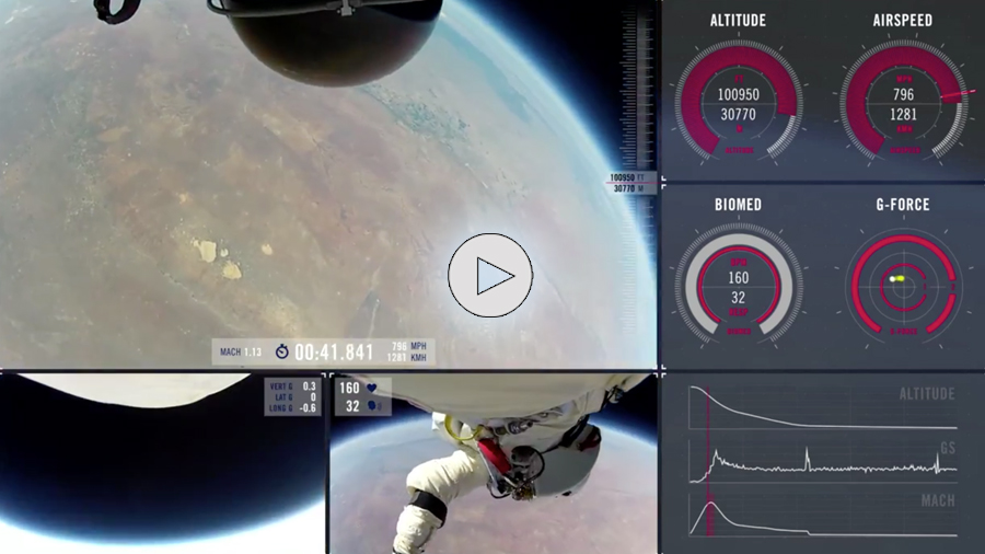 Red Bull Stratos Project Space Dive Animation